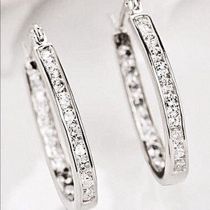 Jewelry - 925 Silver Plated & CZ Oval Earrings NWT